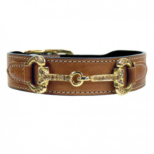 HORSE + HOUND IN NATURAL TAN DOG COLLAR