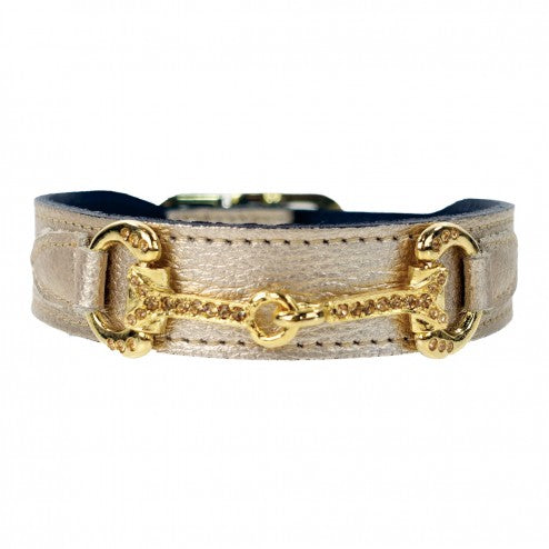 HORSE + HOUND IN METALLIC GOLD DOG COLLAR