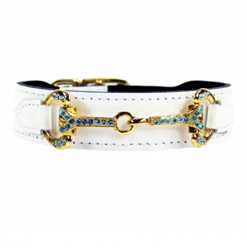 HORSE + HOUND IN WHITE PATENT DOG COLLAR
