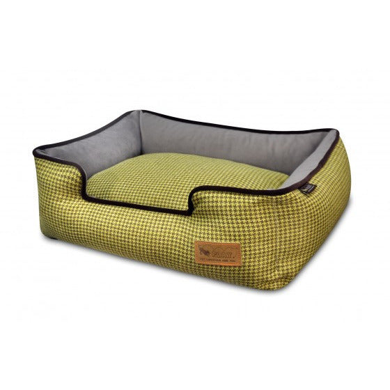 HOUNDSTOOTH YELLOW LOUNGE  DOG BED, Beds - Bones Bizzness