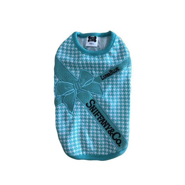 Sniffany Houndstooth Blue Ribbon Dog Tank
