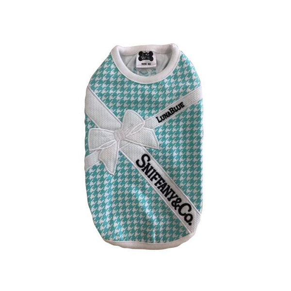 Sniffany Houndstooth White Ribbon Dog Tank