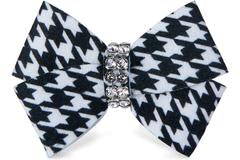 BLACK & WHITE HOUNDSTOOTH NOUVEAU HAIR BOW