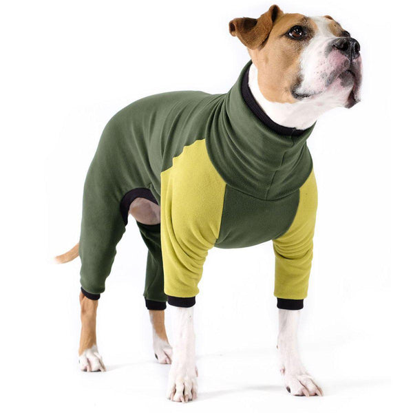 STRETCH FLEECE ONESIE DOG PAJAMAS HUNTER/AVOCADO