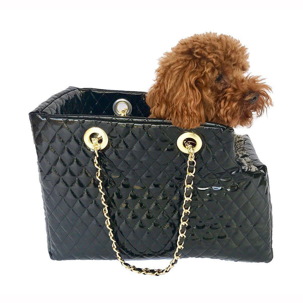 KATE QUILTED DOG CARRIER BLACK PATENT