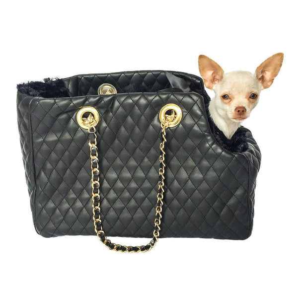 KATE QUILTED DOG CARRIER BLACK