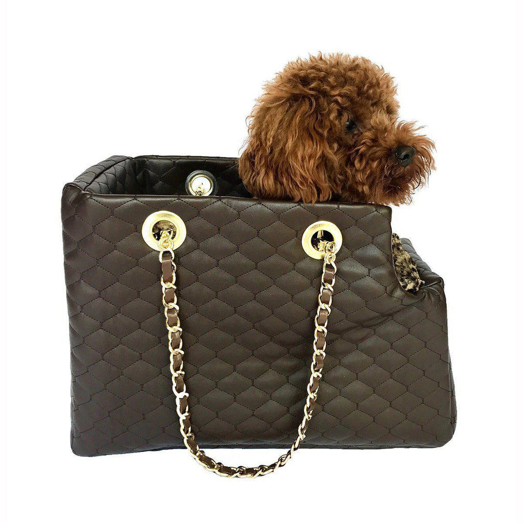 KATE QUILTED DOG CARRIER CHOCOLATE