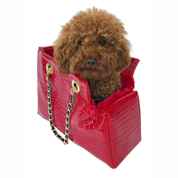 KATE QUILTED DOG CARRIER RED CROC