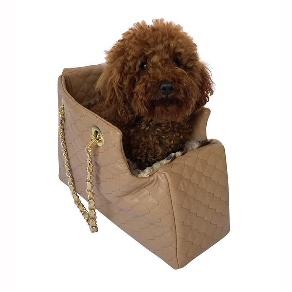 KATE QUILTED DOG CARRIER TAN