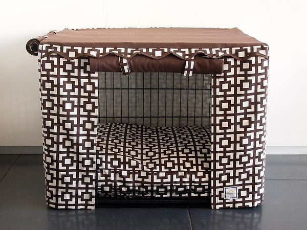 LATTICE BROWN DOG CRATE COVER, Crate Cover - Bones Bizzness
