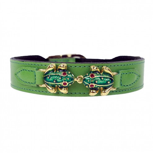 LEAP FROG IN GRASS GREEN DOG COLLAR