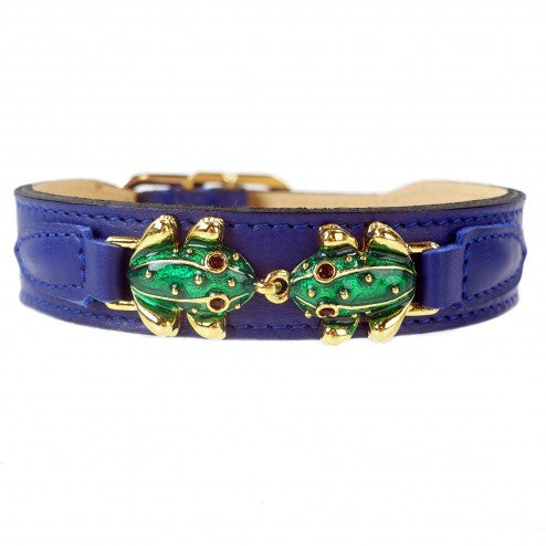 LEAP FROG IN COBALT BLUE DOG COLLAR