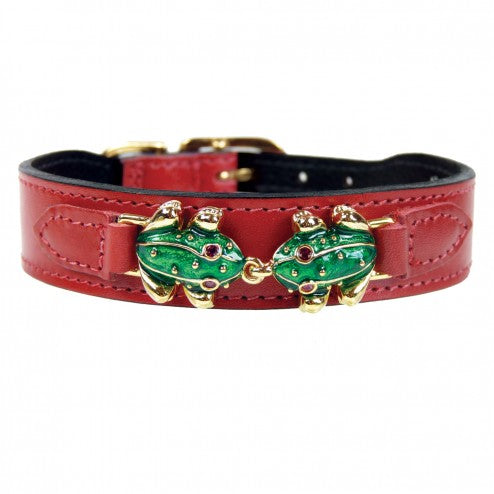 LEAP FROG IN FERRARI RED DOG COLLAR