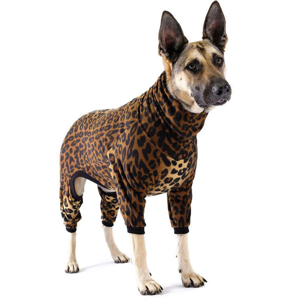 STRETCH FLEECE ONESIE DOG PAJAMAS LEOPARD/LEOPARD