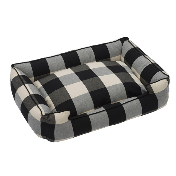 BUFFALO CHECK BLACK LOUNGE DOG BED, Beds - Bones Bizzness