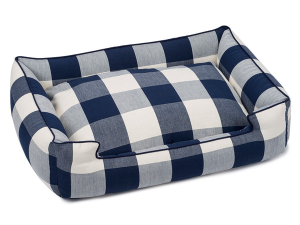 NAVY BUFFALO CHECK LOUNGE DOG BED, Beds - Bones Bizzness