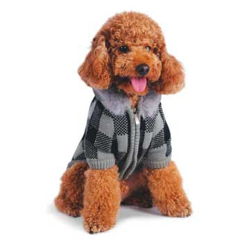LUX CHECKER SWEATER DOG COAT, Coats - Bones Bizzness
