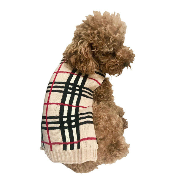 Mac Ziggy Plaid Dog Sweater Sand