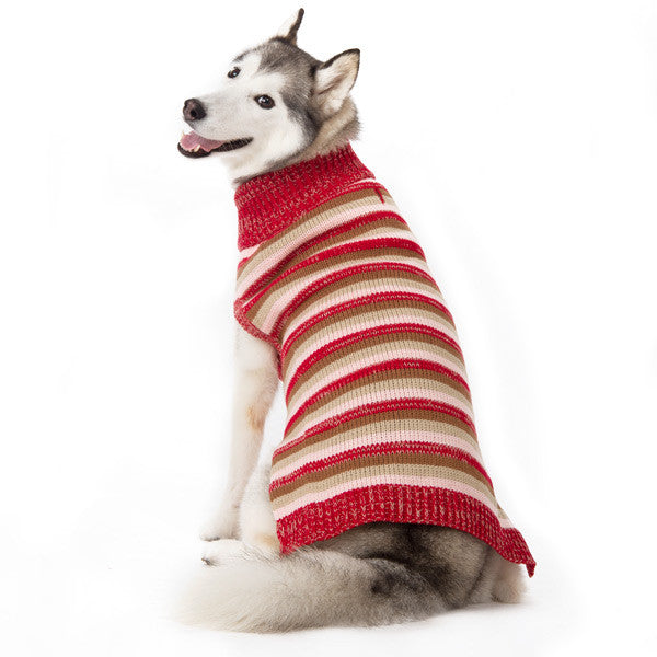 MARL RED STRIPES DOG SWEATER, Sweaters - Bones Bizzness