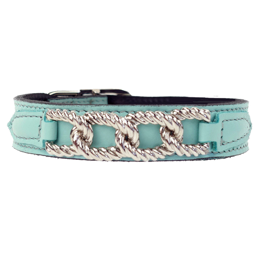 MAYFAIR IN TURQUOISE DOG COLLAR, Collars - Bones Bizzness