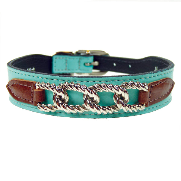 MAYFAIR IN TURQUOISE & CHOCOLATE DOG COLLAR, Collars - Bones Bizzness