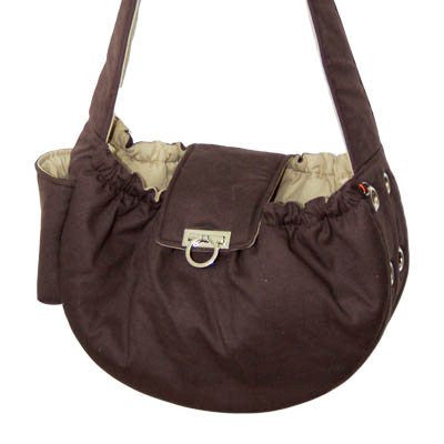 BROWN MESSENGER BAG DOG CARRIER, Carriers - Bones Bizzness