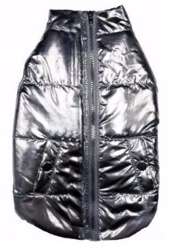 METALLIC PUFFER DOG COAT SILVER, Coats - Bones Bizzness