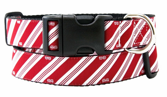 """MONTGOMERY RED"" CANDY CANE STRIPE GWEN GEAR DOG COLLAR, Collars - Bones Bizzness"