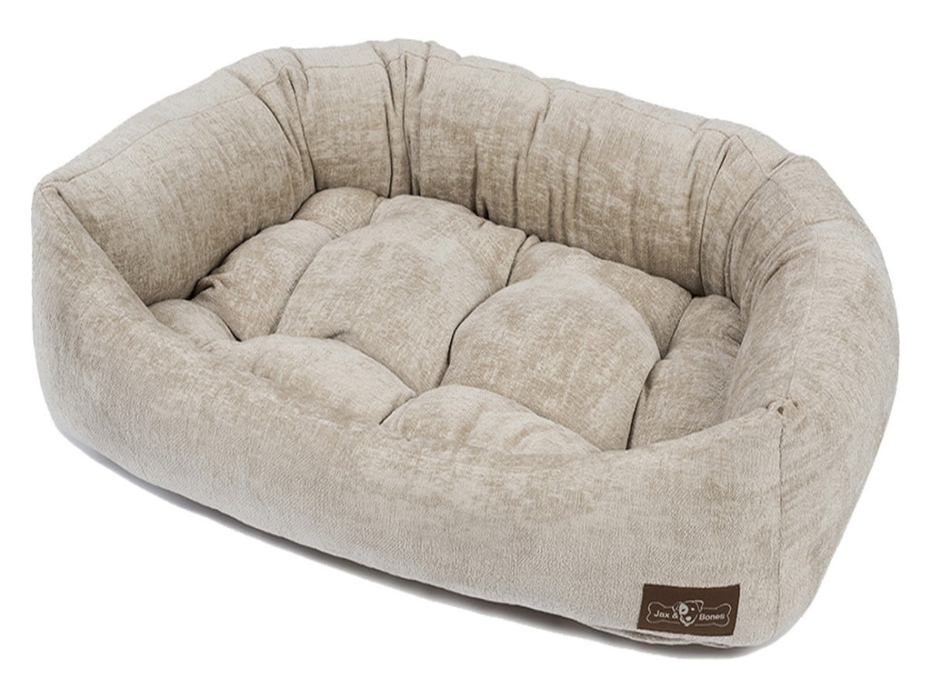 TUSCANY CHAMPAGNE PLUSH NAPPER DOG BED, Beds - Bones Bizzness