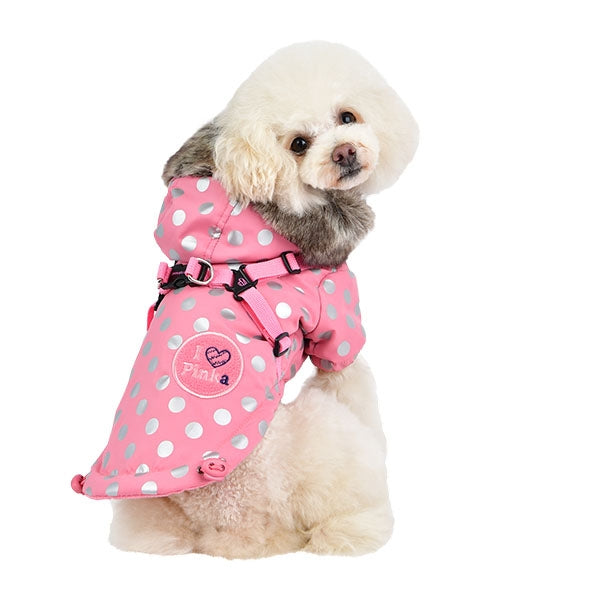 XANADU PUPPIA PINKAHOLIC POLKA DOT WINTER DOG JACKET - PINK, VESTS - Bones Bizzness