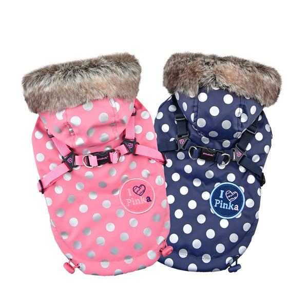 XANADU PUPPIA PINKAHOLIC POLKA DOT WINTER DOG JACKET, VESTS - Bones Bizzness
