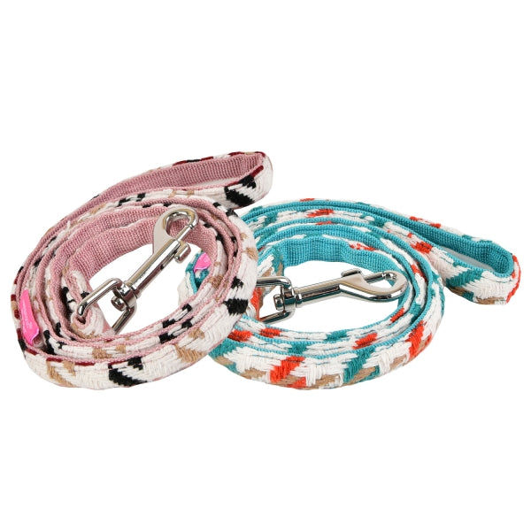 ZUZU DOG LEAD - INDIAN PINK / AQUA