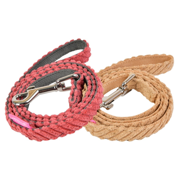 LUCCA DOG LEAD - DARK PINK / BEIGE