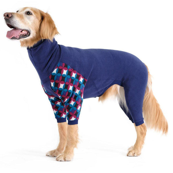 STRETCH FLEECE ONESIE DOG PAJAMAS NAVY/WINTER MOD