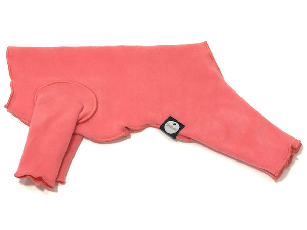 STRETCH FLEECE ONESIE DOG FLEECE - CORAL