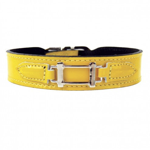 HAMILTON COLLECTION IN CANARY YELLOW PATENT LEATHER & NICKEL DOG COLLAR, Collars - Bones Bizzness