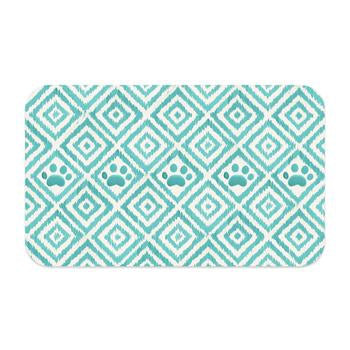 PAW IKAT PET PLACEMENT RUG - TEAL, Rugs - Bones Bizzness