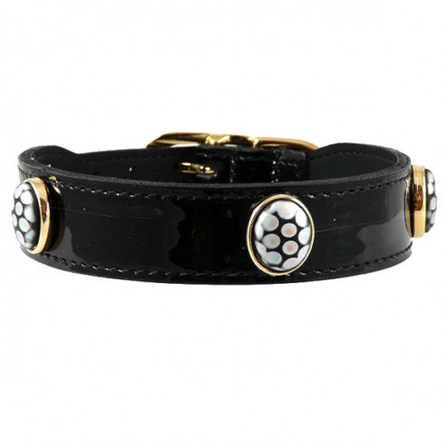 PEACOCK IN BLACK PATENT DOG COLLAR