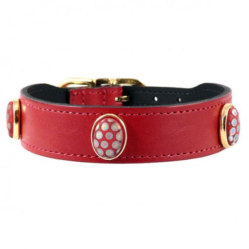 PEACOCK IN FERRARI RED DOG COLLAR