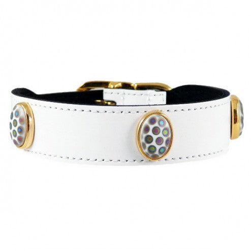PEACOCK IN WHITE PATENT DOG COLLAR