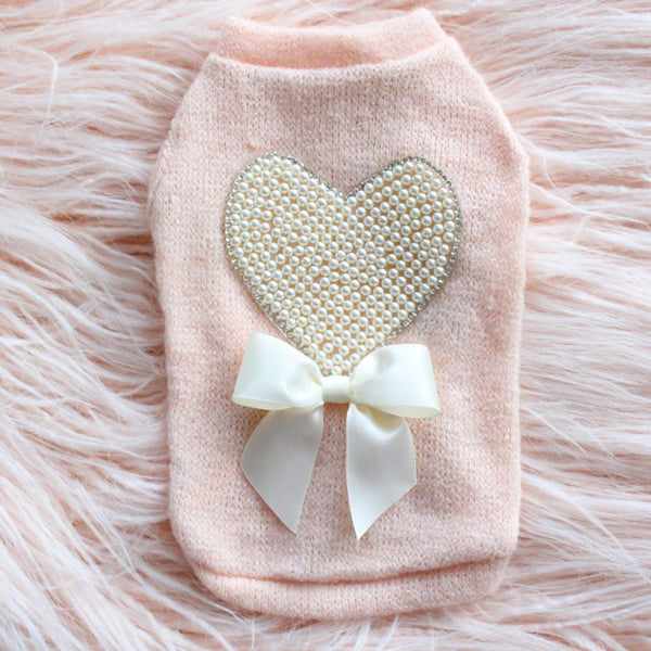 PEARL HEART DOG SWEATER-PEACH