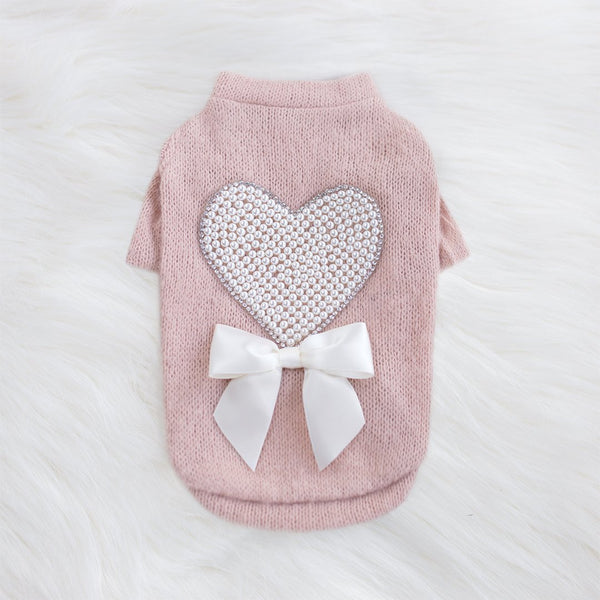 PEARL HEART DOG SWEATER