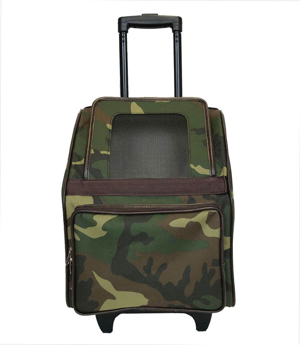 CAMO RIO BAG ON WHEELS DOG CARRIER, Carriers - Bones Bizzness