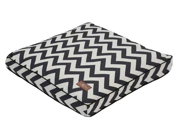 BLACK & WHITE ZIGGY PILLOW DOG BED, Beds - Bones Bizzness