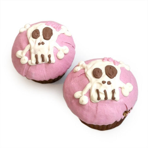 PINK PUNK ROCK SKULL DOG CUPCAKES (CASE OF 6), Treats - Bones Bizzness