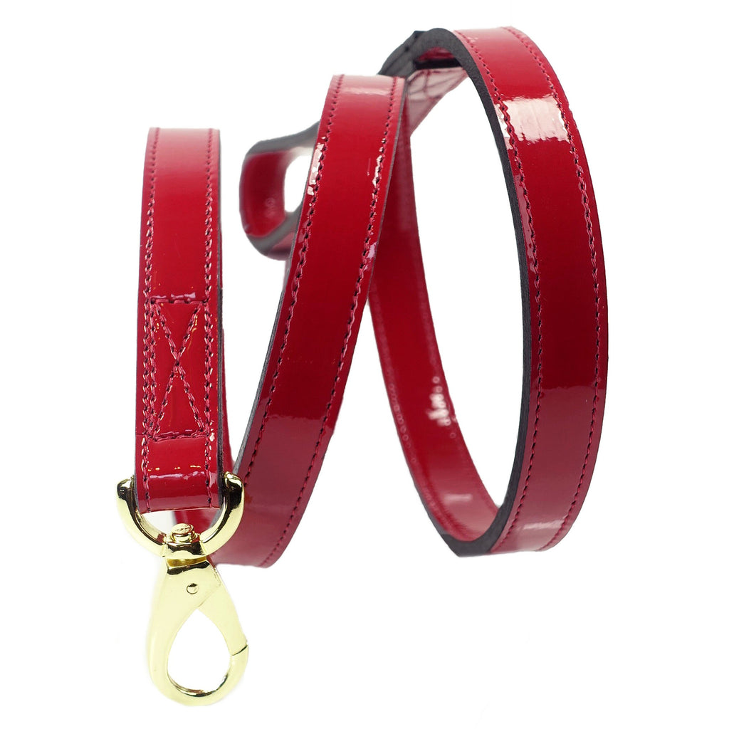 GEORGIA ROSE DOG LEAD IN RED PATENT & GOLD, Leash - Bones Bizzness
