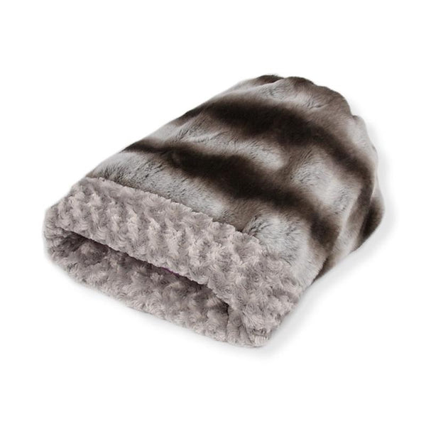 CUDDLE CUP DOG BED -PLATINUM CHINCHILLA WITH SNOW LEOPARD, Beds - Bones Bizzness