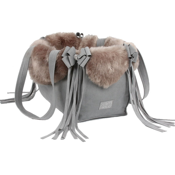 PLATINUM ULTRA-SUEDE & FOX FAUX FUR LUXURY DOG CARRIER  - BY SUSAN LANCI, Carriers - Bones Bizzness