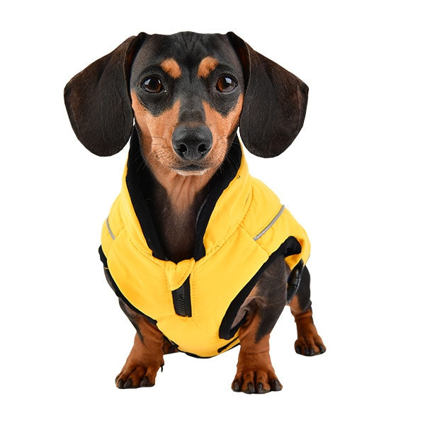 YELLOW EXPEDITION QUILTED DOG VEST w/D RING PUPPIA, VESTS - Bones Bizzness