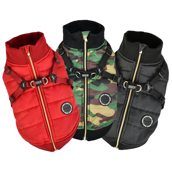 FROST PUPPIA DOG COAT VEST -WINE / BLACK/ CAMO
